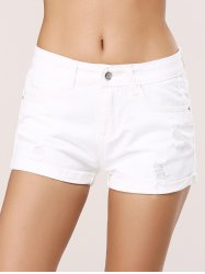 Pure Color Ripped Pocket Design Shorts -