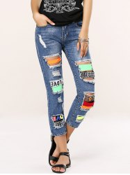 Stylish Colorful Icon Spliced Destroyed Jeans -
