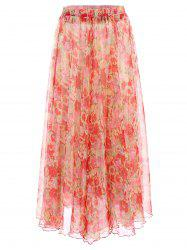 Trendy Elastic Waist Flower Pattern Chiffon Skirt For Women -