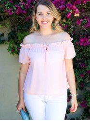 Stylish Off-The-Shoulder Puff Sleeve Bowknot Women's Blouse