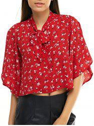Chic Women's Floral Print Bow Tie Collar Chiffon Blouse -