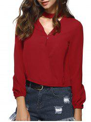Chocker Low Cut Pure Color Long Sleeve Shirt