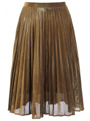 Metallic Pleated Midi Skirt -