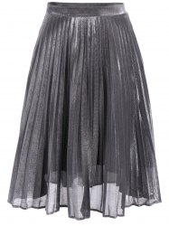 Trendy Solid Color Pleated Midi Skirt For Women