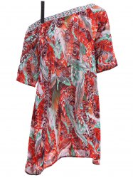 Bohemian Off The Shoulder Feather Print Half Sleeve Dress For Women -