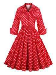 Vintage 3/4 Sleeve Button Design Polka Dot Women's Dress - RED