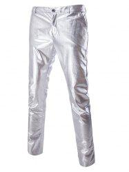 Zipper Fly Solid Color Metallic Pants For Men - SILVER