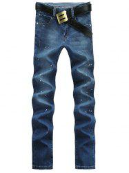 Skull Pattern Spray Lacquer Print Straight Leg Jeans For Men - BLUE