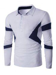 Turn Down Collar Color Spliced Long Sleeve Polo Shirt For Men - WHITE XL