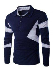 Turn Down Collar Color Spliced Long Sleeve Polo Shirt For Men - CADETBLUE