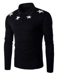 Claasic Turn-Down Collar Stars Print Long Sleeve T-Shirt For Men - BLACK