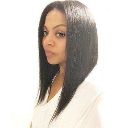 Fancy Silky Straight Medium Black Synthetic Middle Part Wig For Women -
