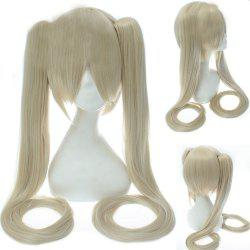 Stylish Synthetic Rice White Long Straight with Bunches Twintail Hatsune Miku Cosplay Wig -