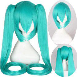 Stylish Synthetic Light Green Long Straight with Bunches Twintail Hatsune Miku Cosplay Wig -