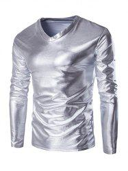 Fahionable V-Neck Long Sleeve Shiny T-Shirt For Men - SILVER