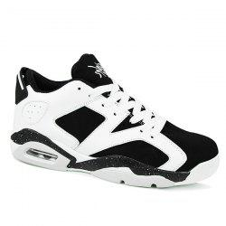 Fashion Breathable and Tie Up Design Athletic Shoes For Men - WHITE AND BLACK