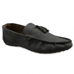 Simple Style Stitching and Tassels Design Casual Shoes For Men - BLACK