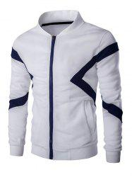 Color Splicing Napping Zip Up Long Sleeve Jacket For Men - WHITE 2XL