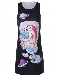 Sleeveless Cartoon Printed Jewel Neck Dress