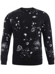 BoyNewYork Fake Pocket Star Pattern Long Sleeves Sweatshirt