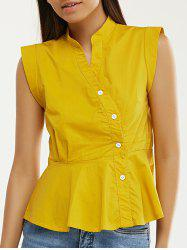 Stand Collar Cap Sleeve Ruffled Top -