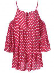 Cold Shoulder Polka Dot Imprimer Mini-robe - Rose Et Blanc