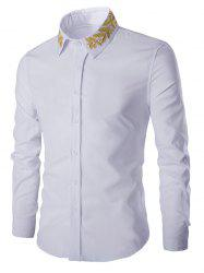 Golden Leaves Embroidered Shirt Collar Long Sleeves Shirt - WHITE