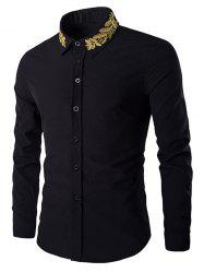 Golden Leaves Embroidered Shirt Collar Long Sleeves Shirt - BLACK M