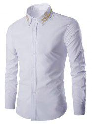 Golden Embroidery Solid Color Long Sleeves Shirt For Men