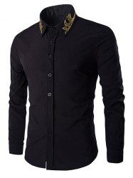Golden Embroidery Solid Color Long Sleeves Shirt For Men - BLACK M