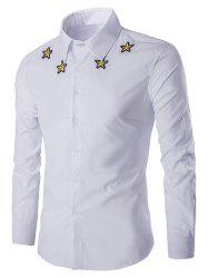 Simple Star Embroidered Long Sleeves Shirt For Men - WHITE L