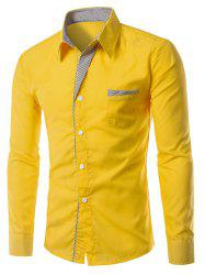 Stripe Panel Casual Long Sleeve Military Shirt - YELLOW