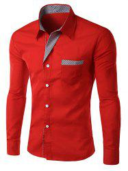 Stripe Panel Casual Long Sleeve Pocket Shirt - RED