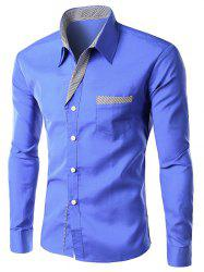 Stripe Panel Casual Long Sleeve Pocket Shirt - BLUE