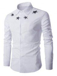 Star Pattern Solid Color Long Sleeves Shirt For Men -