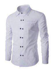 Double-Breasted Solid Color Shirt Collar Long Sleeves Shirt For Men - WHITE L