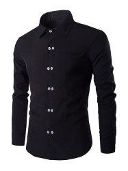 Double-Breasted Solid Color Shirt Collar Long Sleeves Shirt For Men
