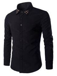 Gloden Star Rivets Design Shirt Collar Long Sleeves Shirt For Men