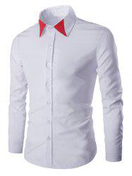 Color Block Collar Long Sleeves Shirt For Men - WHITE 2XL