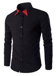 Color Block Collar Long Sleeves Shirt For Men