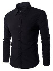 Rivets Embellished Turn-down Collar Long Sleeves Shirt For Men - BLACK 2XL
