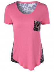 Short Sleeves U-Neck Leopard T-Shirt