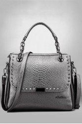Rivets Tote Bag - SILVER GRAY