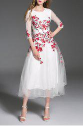 Gorgeous Embroidered Tulle Maxi Evening Prom Dress -