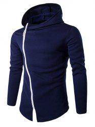 Stylish Diagonal Zipper Design Long Sleeve Hoodies For Men -