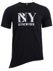 BoyNewYork Asymmetric Hem Short Sleeves T-Shirt -