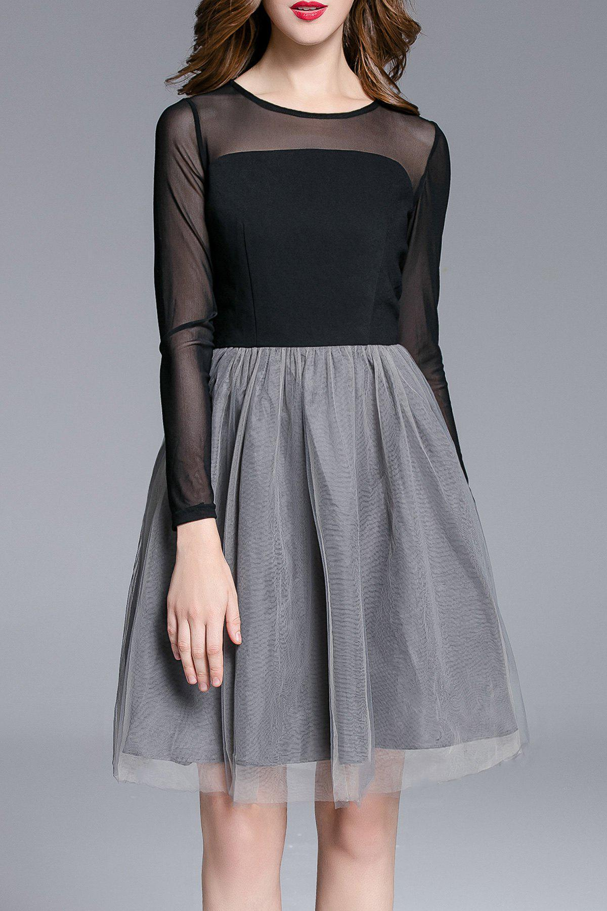 New Sheer Color Block Tulle Dress
