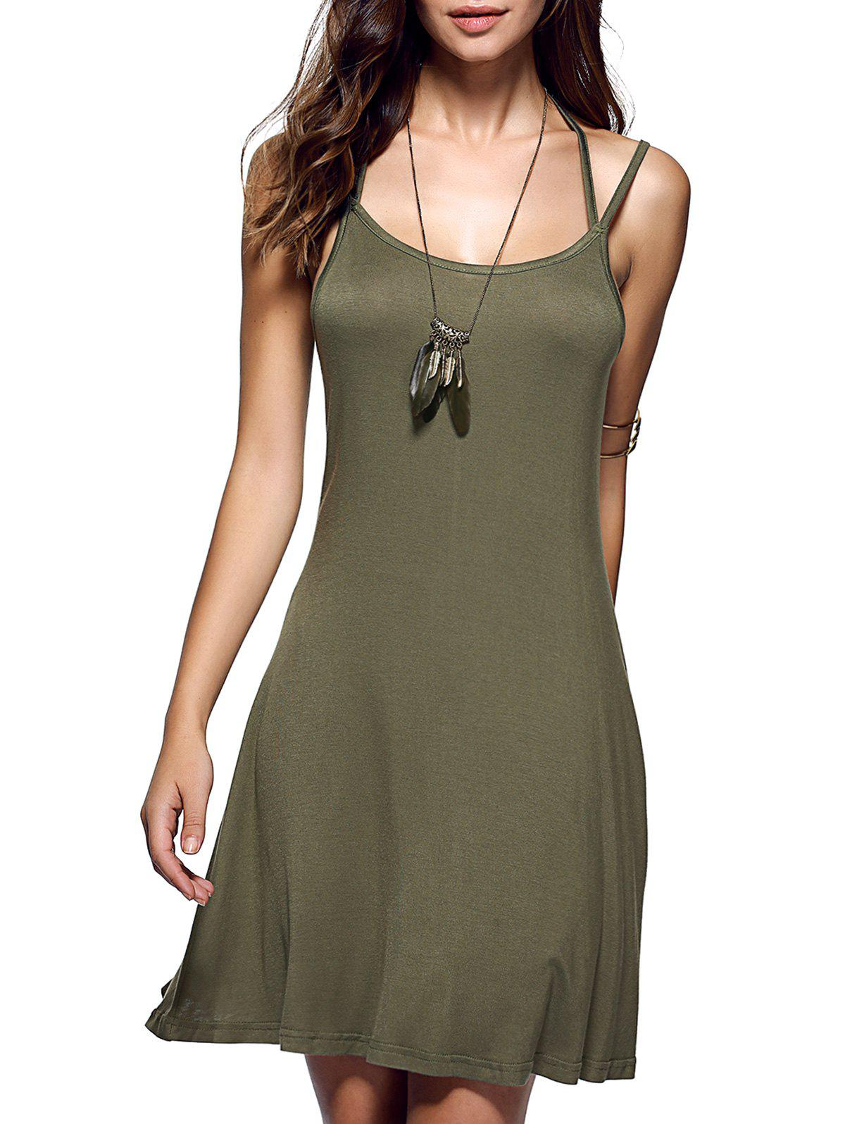 Hot Spaghetti Strap Backless Casual Short Summer Dress
