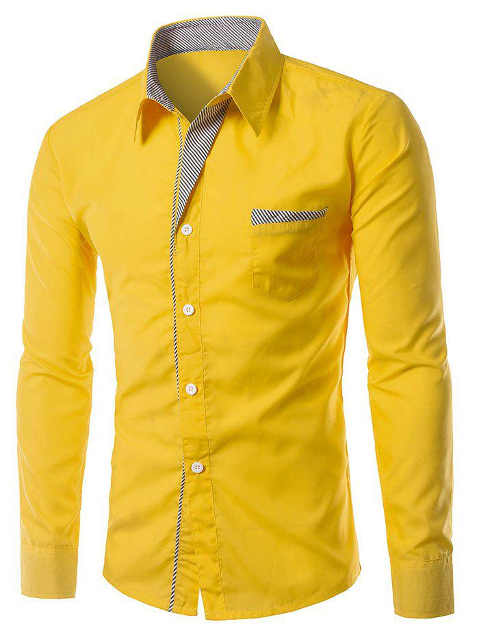 Stripe Panel Edging Pocket ShirtMEN<br><br>Size: XL; Color: YELLOW; Shirts Type: Casual Shirts; Material: Cotton Blends; Sleeve Length: Full; Collar: Turn-down Collar; Weight: 0.1850kg; Package Contents: 1 x Shirt;
