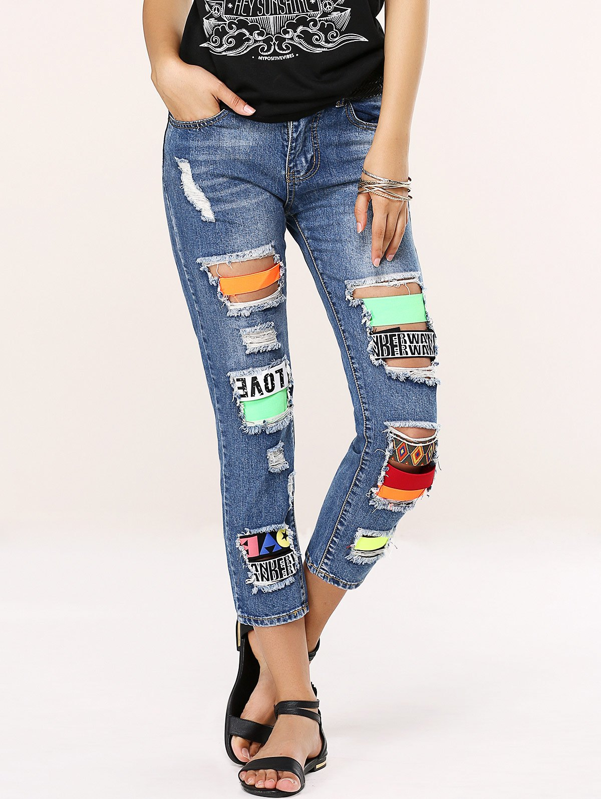 Buy Stylish Colorful Icon Spliced Destroyed Jeans